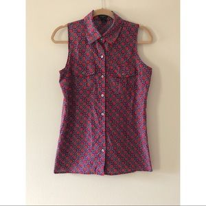 Ann Taylor Collared Sleeveless Blouse Size Small